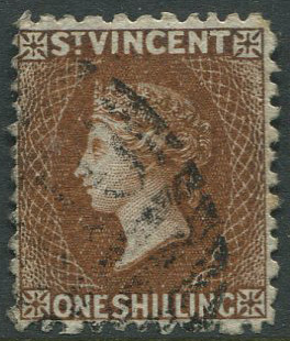 1869 St Vincent perf 11 to 12½, 1/- brown (SG14)