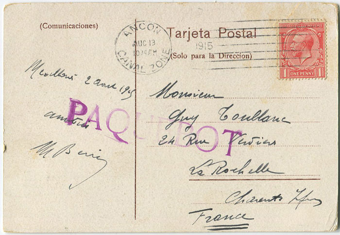 1915 Canal Zone Ancon PAQUEBOT h/s on postcard to France.
