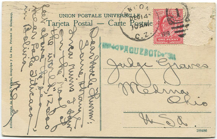 1910 Canal Zone Ancon PAQUEBOT h/s on Bolivian postcard to U.S.A.