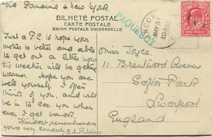 1912 Canal Zone Ancon PAQUEBOT h/s on Brazilian postcard to England