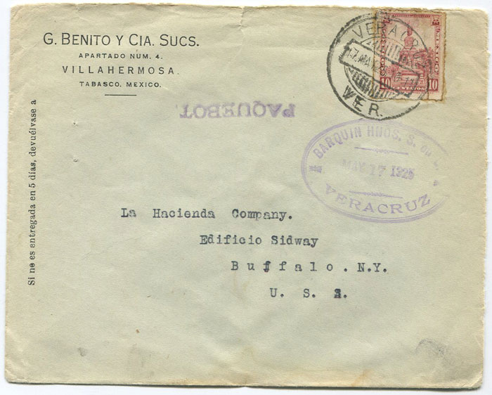 1925 Mexico Veracruz Paquebot h/s on cover to U.S.A.