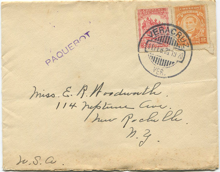 1928 Mexico Veracruz Paquebot h/s on cover to U.S.A.