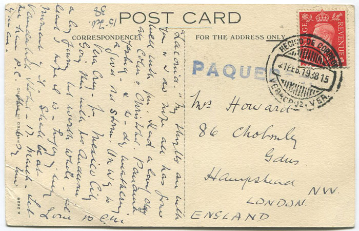1938 Mexico Veracruz Paquebot h/s on postcard to England.