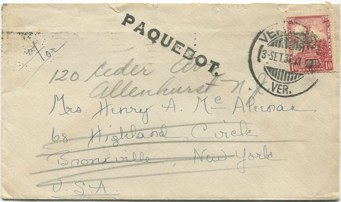 1934 Mexico Tampico Paquebot h/s on cover to New York.