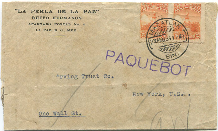 1934 Mexico Mazatlan cds on reduced cover to New York.