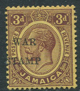 1917 Jamaica War Stamp 3d with no stop variety (SG75a)