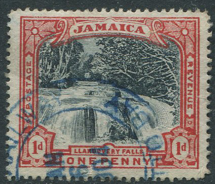 1900-01 Jamaica 1d Falls (SG32) with JAMAICA RAILWAY ANNOTTO BAY cds in blue.