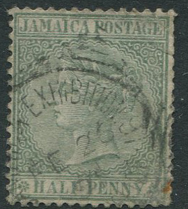1883-97 Jamaica QV ½d (SG16) with JAMAICA EXHIBITION squared circle ds.