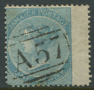 1860-70 Jamaica Pines 1d pale greenish blue (SG1a) with fine