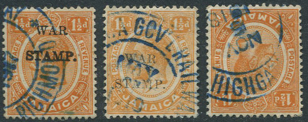 1917 Jamaica War Stamp 1½d (2) with part strikes of JAMAICA GOV