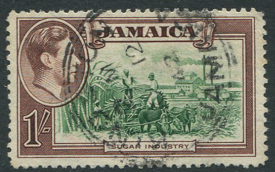 1938-52 Jamaica 1/- with repaired chimney variety (SG130a),