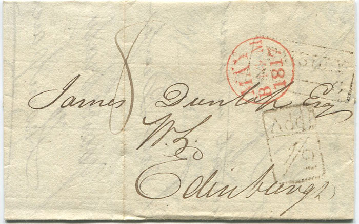 1817 (13 May) PAISLEY boxed Add ½ on cover to Edinburgh.