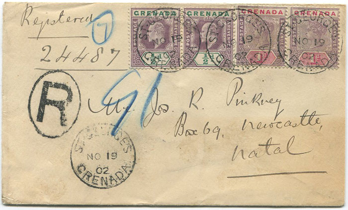 1902 (19 Nov) Grenada registered cover to Natal