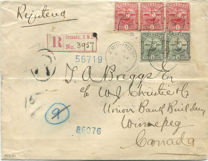 1910 Grenada registered cover to Canada