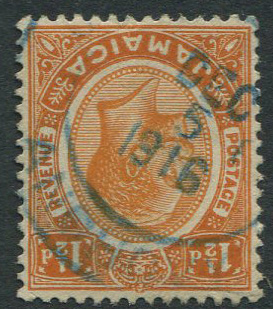 1912-20 Jamaica 1½d with ANCHOVY DEC 5 1916 blue railway postmark.