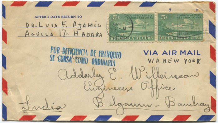 1931 Cuba cover to India with