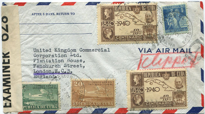 1940 Cuba airmail cover to England with 46c franking.
