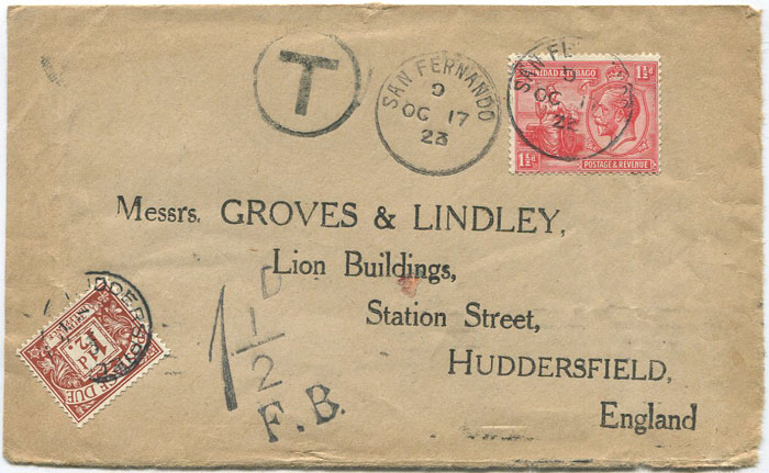 1923 SAN FERNANDO cds on Trinidad cover front to England.