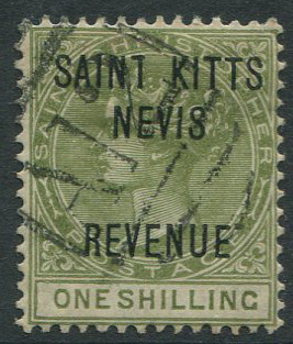 1883 ST Christopher Revenue 1/- (SG R6)