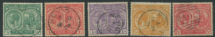 1903 St Kitts Nevis vals. to 2/6d plus 1920-2 vals to 2d, all with Nevis postmarks.