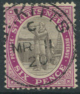 1905-18 St Kitts Nevis 6d grey black & bright purple (SG19ab)