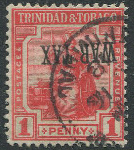 1917 Trinidad War Tax inverted ovpt. variety on 1d (SG176a)