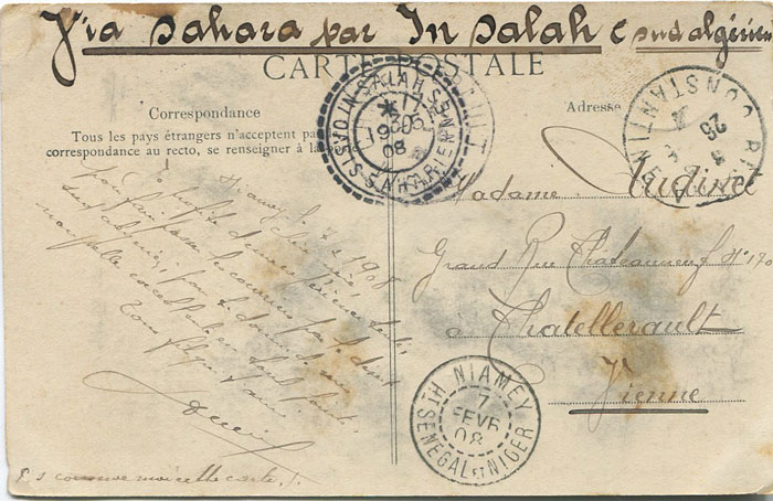 1908 NIAMEY SENEGAL cds on postcard to France