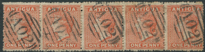 1863-7 Antigua 1d vermilion with s/ways wmk (SG7b)