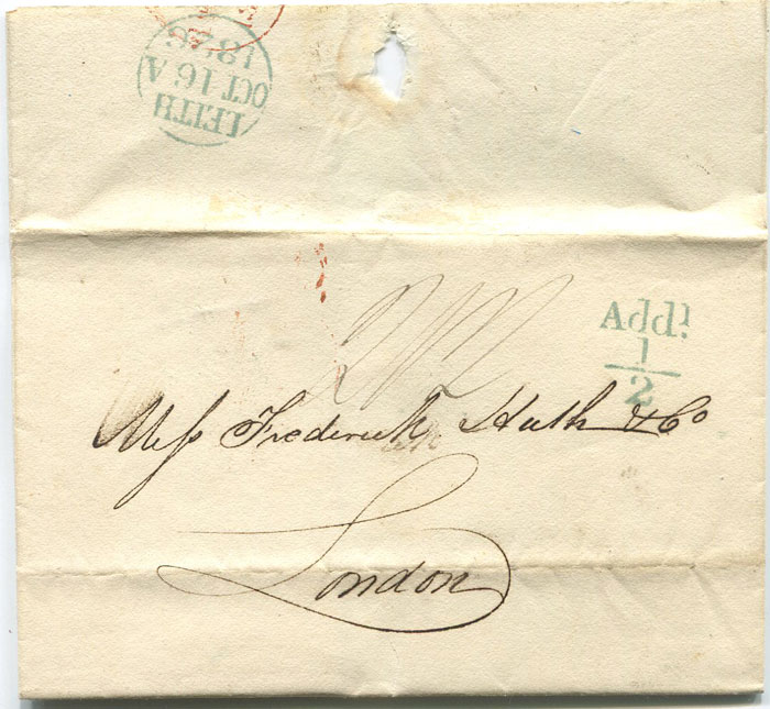 1826 (16 Oct) LEITH unboxed Add! ½ in green
