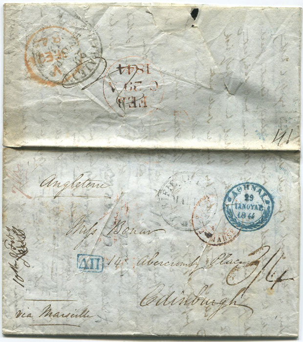 1844 (10 Feb) EL from Athens to Scotland, disinfected in Malta.