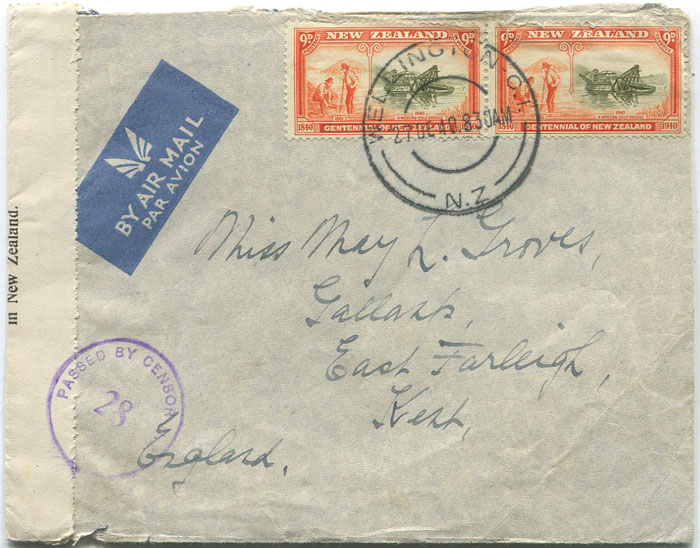 1940 (27 Dec) airmail cover with