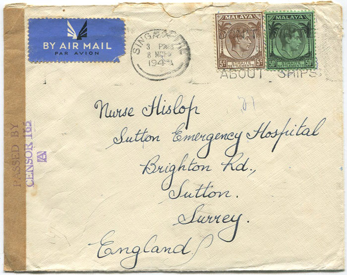 1941 (8 Mar) Singapore cover with brown tape tied by