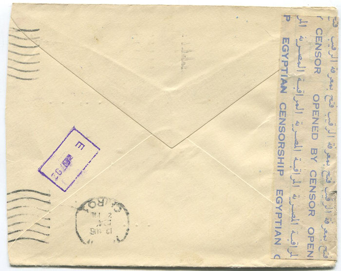 1944 (?) (13 Aug) Egypt cover to U.S.A. with blue on white bi-lingual Opened By Censor Egyptian Censorship label