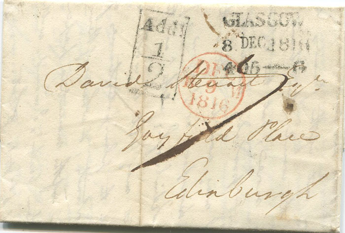 1816 GLASGOW boxed ADD ½! mark on EL to Edinburgh.