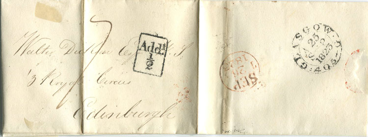 1823 GLASGOW small boxed ADD ½! mark on cover to Edinburgh.