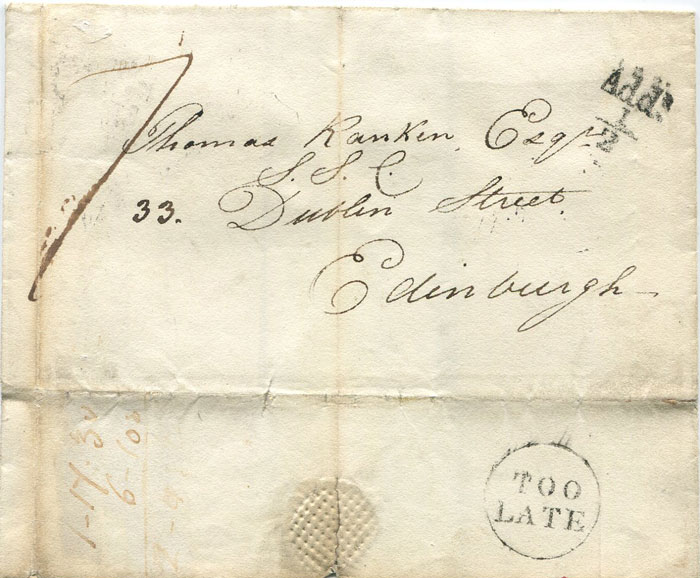 1826 GLASGOW unboxed Add! ½ on cover to Edinburgh.