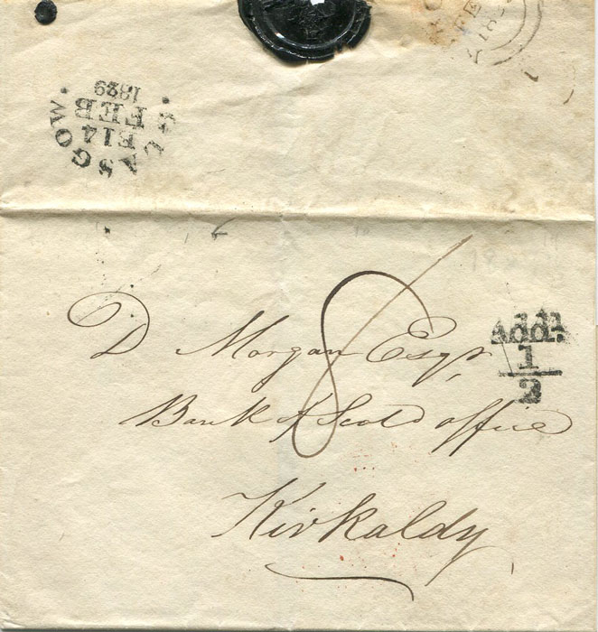 1829 GLASGOW unboxed Add! ½ on cover to Kirkaldy.