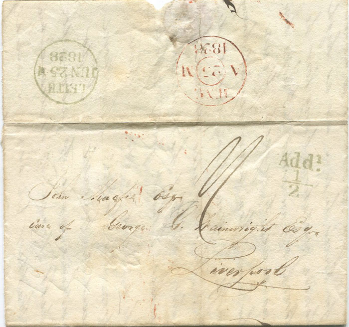 1828 (25 June) LEITH unboxed Add! ½ mark in green on cover to Liverpool