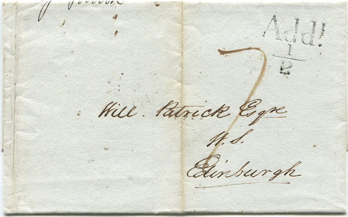 1833 GLASGOW unboxed Add! ½ on cover to Edinburgh.