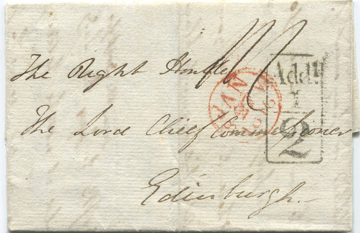 1816 (24 Jan) LONDON boxed Add! ½ (H/S133) on EL to Edinburgh