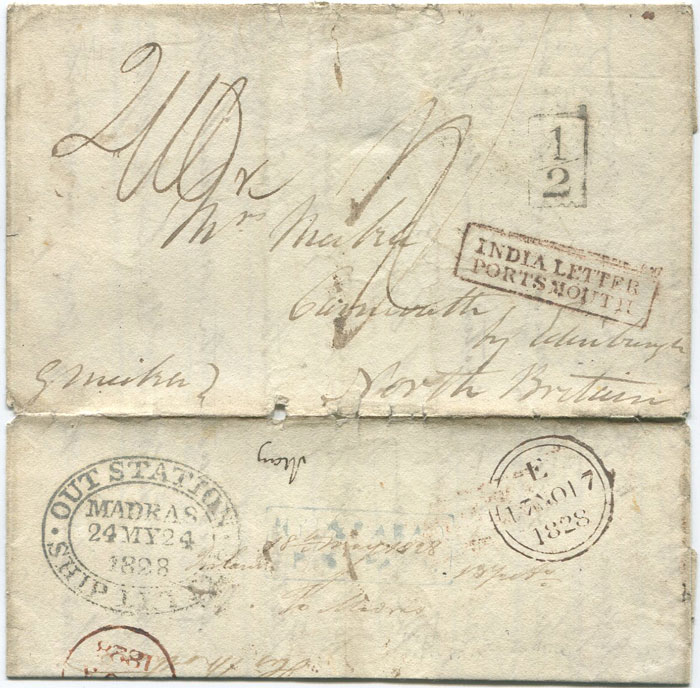 1828 (17 Nov) oval OUT STATION MADRAS SHIP LETTER ds on cover from India to Scotland