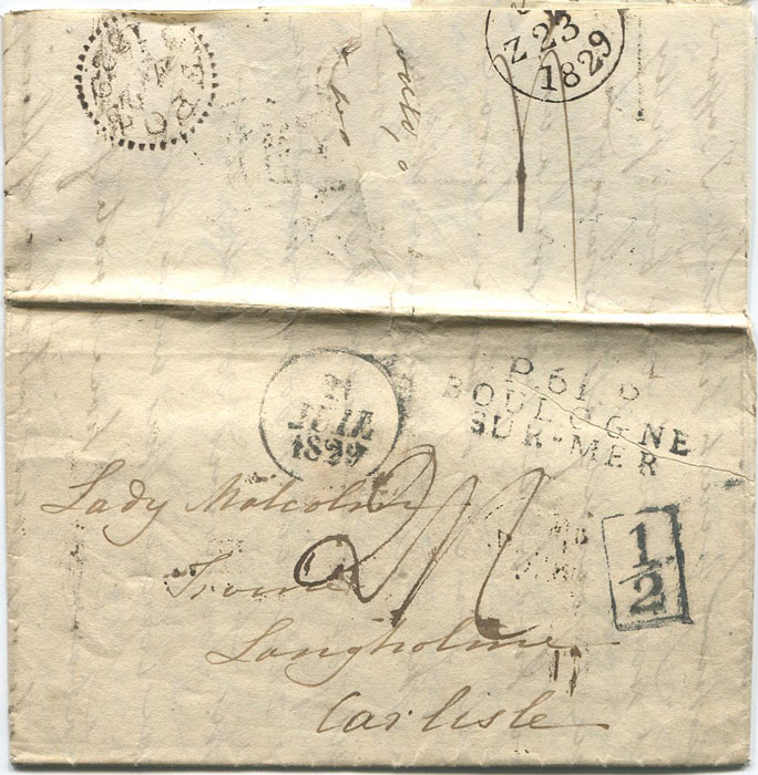 1829 (22 July) LONDON boxed ½ on EL from France.