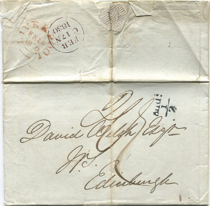1830 (16 Feb) LIVERPOOL distinctive unboxed Add! ½ mark