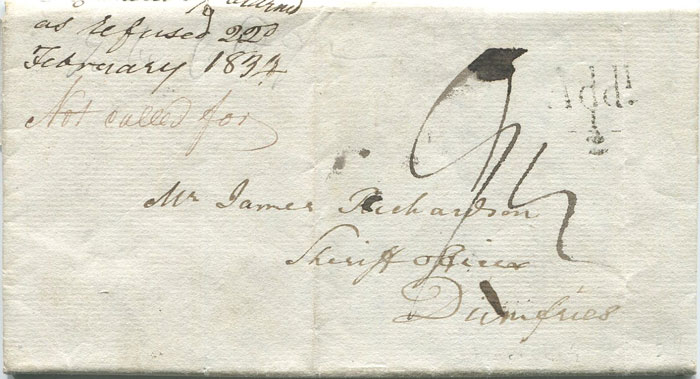 1834 (8 Jan) HAWICK unboxed Add ½
