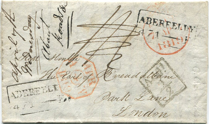 1819 (4 Apr) boxed ABERFELDY 471 - E mileage mark