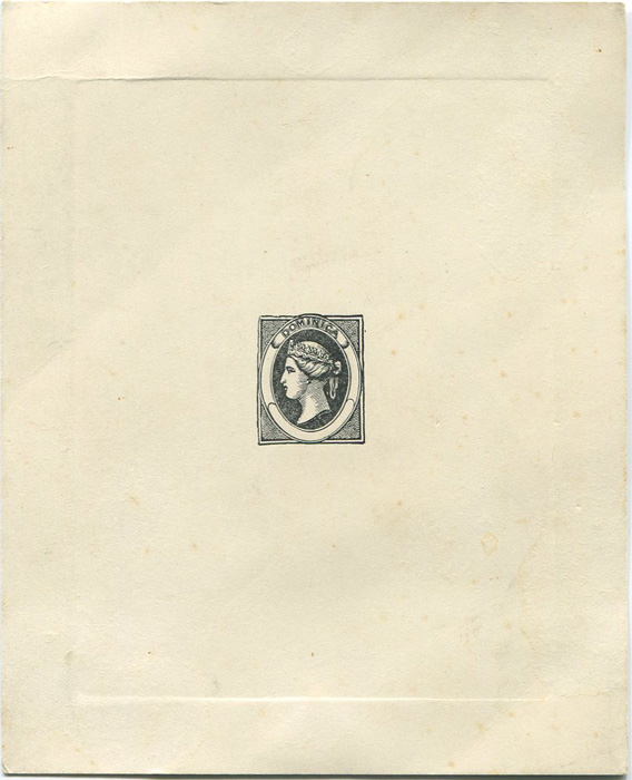 1866 Dominica die proof of undenominated design