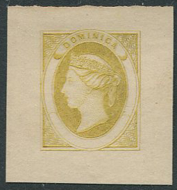1870 Dominica bogus essay of an undenominated design in yellow on thin card.