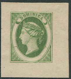 1870 Dominica bogus essay of an undenominated design in green on thin card.
