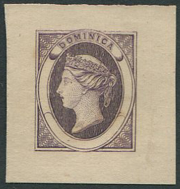 1870 Dominica bogus essay of an undenominated design in deep lilac on thin card.