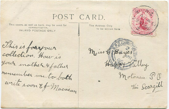 1906 R.P.O. CHRISTCHURCH NZ 2  20 MR 06 triple circle railway postmark
